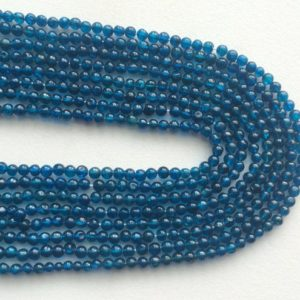 Shop Apatite Round Beads! 3.5mm Neon Blue Apatite Plain Round Beads, Neon Blue Apatite Plain Balls, 13 Inch Strand Neon Apatite For Jewelry (1ST To 5ST Options) | Natural genuine round Apatite beads for beading and jewelry making.  #jewelry #beads #beadedjewelry #diyjewelry #jewelrymaking #beadstore #beading #affiliate #ad