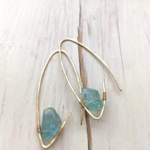 Aquamarine Earrings Aquamarine Raw Hoop Aquamarine Jewelry | Natural genuine Gemstone jewelry. Buy crystal jewelry, handmade handcrafted artisan jewelry for women.  Unique handmade gift ideas. #jewelry #beadedjewelry #beadedjewelry #gift #shopping #handmadejewelry #fashion #style #product #jewelry #affiliate #ad