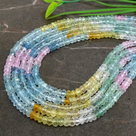 Wholesale! Natural Multi Aquamarine 4-4.5mm Micro Faceted Rondelle Gemstone Beads / Approx 120 Pieces On 14 Inch Long Strand / Jbc-et-147141