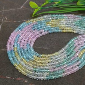 Shop Aquamarine Faceted Beads! WHOLESALE! Natural Multi Aquamarine 3-3.5mm Micro Faceted Rondelle Gemstone Beads / Approx 150 pieces on 14 Inch long strand / JBC-ET-147141 | Natural genuine faceted Aquamarine beads for beading and jewelry making.  #jewelry #beads #beadedjewelry #diyjewelry #jewelrymaking #beadstore #beading #affiliate #ad