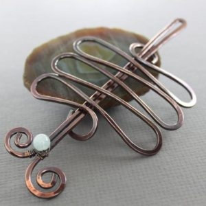 Zigzag bun cage with aquamarine stone, Hair slide, Hair accessories, Hair jewelry, Hair barrette, Hair stick, Hair pin, Hair clip – HP020 | Natural genuine stones & crystals in various shapes & sizes. Buy raw cut, tumbled, or polished gemstones for making jewelry or crystal healing energy vibration raising reiki stones. #crystals #gemstones #crystalhealing #crystalsandgemstones #energyhealing #affiliate #ad