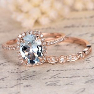 Perfect 2 Rings Set!! 14K Rose Gold Ring Set 7x9mm Oval Cut Aquamarine Ring Set Engagement Ring Set Promise Ring Set Anniversary Ring Set | Natural genuine Array rings, simple unique alternative gemstone engagement rings. #rings #jewelry #bridal #wedding #jewelryaccessories #engagementrings #weddingideas #affiliate #ad
