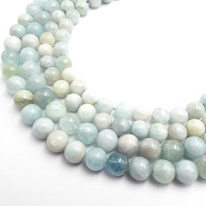 "Shop Aquamarine Round Beads! Multi Blue Aquamarine Smooth Round Beads 6mm 8mm 10mm 11mm 15.5"" Strand 