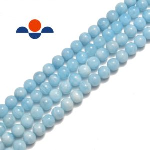 "Shop Aquamarine Round Beads! Natural Blue Aquamarine Smooth Round Beads 6mm 8mm 10mm 15.5"" Strand 