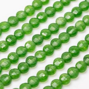 Shop Aventurine Faceted Beads! Natural Grass Green Aventurine Loose Beads Faceted Flat Round Button Shape 4mm | Natural genuine faceted Aventurine beads for beading and jewelry making.  #jewelry #beads #beadedjewelry #diyjewelry #jewelrymaking #beadstore #beading #affiliate #ad