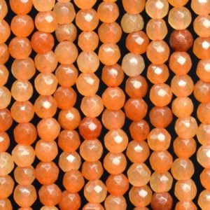 Shop Aventurine Faceted Beads! Natural Orange Aventurine Loose Beads Faceted Round Shape 4mm | Natural genuine faceted Aventurine beads for beading and jewelry making.  #jewelry #beads #beadedjewelry #diyjewelry #jewelrymaking #beadstore #beading #affiliate #ad