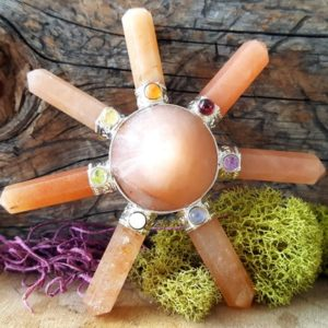 Orange Aventurine Crystal 7 Point Energy Generator with Chakra Stones – 676 | Natural genuine stones & crystals in various shapes & sizes. Buy raw cut, tumbled, or polished gemstones for making jewelry or crystal healing energy vibration raising reiki stones. #crystals #gemstones #crystalhealing #crystalsandgemstones #energyhealing #affiliate #ad