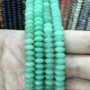 "Shop Aventurine Rondelle Beads! 8x4mm Smooth Aventurine Rondelle Saucer Spacer Beads Green Aventurine Gemstone Rondelles Beading Jewelry Making Beads 15.5""/Full Strand 