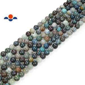 "Shop Azurite Round Beads! Natural Azurite Fynchenite Smooth Round Beads 8mm 10mm 12mm 15.5"" Strand 