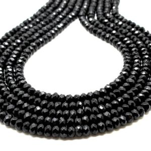 "Black onyx rondelle beads,faceted beads,gemstone beads,black beads,fine beads,AA onyx beads,rondelles beads,facet beads diy – 16"" Strand 
