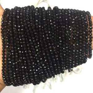 "Shop Black Tourmaline Beads! Natural Gorgeous Rare Black Tourmaline Micro Faceted Round Beads 4mm Gemstone Beads Superb Quality 13"" Strand 
