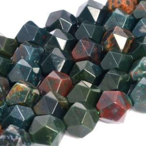 Shop Bloodstone Beads! Genuine Natural Dark Green Blood Stone Loose Beads Star Cut Faceted Shape 5-6mm 7-8mm 9-10mm | Natural genuine faceted Bloodstone beads for beading and jewelry making.  #jewelry #beads #beadedjewelry #diyjewelry #jewelrymaking #beadstore #beading #affiliate #ad