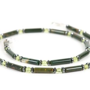 Bloodstone Necklace, Natural Peridot Gemstone Necklace for men, Handmade Gemstone Jewelry | Natural genuine Bloodstone necklaces. Buy handcrafted artisan men's jewelry, gifts for men.  Unique handmade mens fashion accessories. #jewelry #beadednecklaces #beadedjewelry #shopping #gift #handmadejewelry #necklaces #affiliate #ad