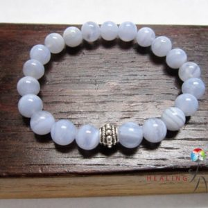 Shop Blue Chalcedony Bracelets! Blue Lace Chalcedony Bracelet Light Blue Gemstone Bracelet Blue Lace Chalcedony Concentration Bracelet Depression Bracelet Blue Chalcedony | Natural genuine Blue Chalcedony bracelets. Buy crystal jewelry, handmade handcrafted artisan jewelry for women.  Unique handmade gift ideas. #jewelry #beadedbracelets #beadedjewelry #gift #shopping #handmadejewelry #fashion #style #product #bracelets #affiliate #ad