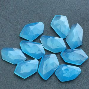 Shop Gemstone Cabochons! 14-17mm Blue Chalcedony Fancy Cabochon, Blue Chalcedony Rose Cut Flat Cabochons For Jewelry, Faceted Blue Chalcedony (5pcs To 10pcs Options) | Natural genuine stones & crystals in various shapes & sizes. Buy raw cut, tumbled, or polished gemstones for making jewelry or crystal healing energy vibration raising reiki stones. #crystals #gemstones #crystalhealing #crystalsandgemstones #energyhealing #affiliate #ad