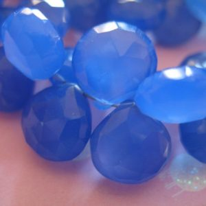 Shop Briolette Beads! 2-20 pcs /  Blue CHALCEDONY Gemstone Beads Briolettes, Faceted Heart / Luxe AAA, 10.5-12 mm /  Periwinkle Cobalt Blue, weddings bridal 1012 | Natural genuine other-shape Gemstone beads for beading and jewelry making.  #jewelry #beads #beadedjewelry #diyjewelry #jewelrymaking #beadstore #beading #affiliate #ad