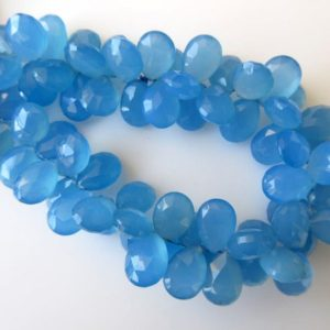 Shop Blue Chalcedony Beads! Blue Chalcedony Faceted Pear Shaped Briolette Beads, Pear Shaped Blue Chalcedony Beads, 11mm to 12mm Each, 7 Inch Strand, GDS644 | Natural genuine other-shape Blue Chalcedony beads for beading and jewelry making.  #jewelry #beads #beadedjewelry #diyjewelry #jewelrymaking #beadstore #beading #affiliate #ad