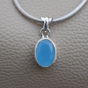 Shop Blue Chalcedony Jewelry! Natural Blue Chalcedony Pendant-Handmade Silver Pendant-925 Sterling Silver Pendant-Blue Oval Chalcedony Pendant-Sagittarius Birthstone | Natural genuine Blue Chalcedony jewelry. Buy crystal jewelry, handmade handcrafted artisan jewelry for women.  Unique handmade gift ideas. #jewelry #beadedjewelry #beadedjewelry #gift #shopping #handmadejewelry #fashion #style #product #jewelry #affiliate #ad