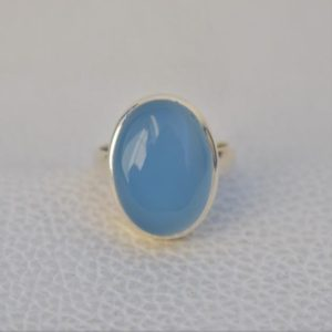 Shop Blue Chalcedony Rings! Natural Blue Chalcedony Ring-Handmade Silver Ring-925 Sterling Silver Ring-Blue Chalcedony Oval Ring-Promise Ring-Sagittarius Birthstone | Natural genuine Blue Chalcedony rings, simple unique handcrafted gemstone rings. #rings #jewelry #shopping #gift #handmade #fashion #style #affiliate #ad