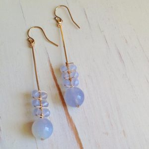 Blue Lace Agate Earrings Blue Lace Agate Jewelry Gemstone Earrings | Natural genuine Gemstone earrings. Buy crystal jewelry, handmade handcrafted artisan jewelry for women.  Unique handmade gift ideas. #jewelry #beadedearrings #beadedjewelry #gift #shopping #handmadejewelry #fashion #style #product #earrings #affiliate #ad