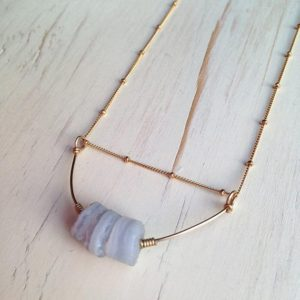 Blue Lace Agate Necklace Gemstone Rough Necklace Blue Lace Druzy Necklace Gemstone Geometric Necklace Blue Lace Agate Jewelry | Natural genuine Blue Lace Agate necklaces. Buy crystal jewelry, handmade handcrafted artisan jewelry for women.  Unique handmade gift ideas. #jewelry #beadednecklaces #beadedjewelry #gift #shopping #handmadejewelry #fashion #style #product #necklaces #affiliate #ad