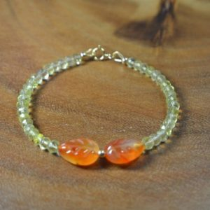 Shop Carnelian Bracelets! Carnelian Leaf and Lemon Quartz Bracelet in 14k Gold Fill // Fall Collection // Autumn Jewelry // Hand Carved Gemstones // Stacking Bracelet | Natural genuine Carnelian bracelets. Buy crystal jewelry, handmade handcrafted artisan jewelry for women.  Unique handmade gift ideas. #jewelry #beadedbracelets #beadedjewelry #gift #shopping #handmadejewelry #fashion #style #product #bracelets #affiliate #ad