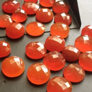 Shop Carnelian Cabochons! 11-14mm Carnelian Orange Chalcedony Checker Cut Cabochons, Orange Flat Back Round Faceted Cabochon For Jewelry (5Pcs To 10Pcs Options) | Natural genuine stones & crystals in various shapes & sizes. Buy raw cut, tumbled, or polished gemstones for making jewelry or crystal healing energy vibration raising reiki stones. #crystals #gemstones #crystalhealing #crystalsandgemstones #energyhealing #affiliate #ad