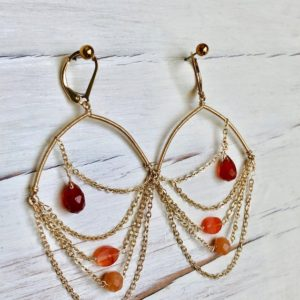 Shop Carnelian Earrings! Carnelian Earrings Carnelian Gold Drape Earrings Carnelian Jewelry | Natural genuine Carnelian earrings. Buy crystal jewelry, handmade handcrafted artisan jewelry for women.  Unique handmade gift ideas. #jewelry #beadedearrings #beadedjewelry #gift #shopping #handmadejewelry #fashion #style #product #earrings #affiliate #ad