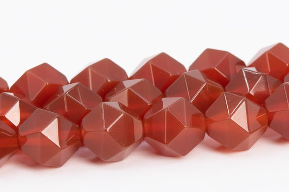 Red Carnelian Beads Star Cut Faceted Grade Aaa Genuine Natural Gemstone Loose Beads 7-8mm 9-10mm Bulk Lot Options (104308)