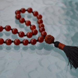 Shop Carnelian Necklaces! Rudraksh and Carnelian Pocket Mala, Carnelian Quarter Mala Beads – Positive Energy, Guards against Negative vibes, Poverty, Calms the temper | Natural genuine Carnelian necklaces. Buy crystal jewelry, handmade handcrafted artisan jewelry for women.  Unique handmade gift ideas. #jewelry #beadednecklaces #beadedjewelry #gift #shopping #handmadejewelry #fashion #style #product #necklaces #affiliate #ad