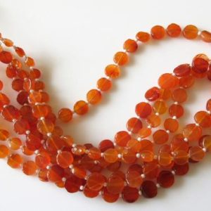 Carnelian Flat Coin Beads, Natural Carnelian Gemstone Beads, 6mm To 9mm Beads, 15 Inch Strand, SKU-2832/1 | Natural genuine other-shape Gemstone beads for beading and jewelry making.  #jewelry #beads #beadedjewelry #diyjewelry #jewelrymaking #beadstore #beading #affiliate #ad