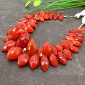 Shop Carnelian Bead Shapes! Natural Carnelian 11-19mm Faceted Marquise Gemstone Beads / Approx 48 Pieces On 8 Inch Long Strand / Jbc-et-153837 | Natural genuine other-shape Carnelian beads for beading and jewelry making.  #jewelry #beads #beadedjewelry #diyjewelry #jewelrymaking #beadstore #beading #affiliate #ad