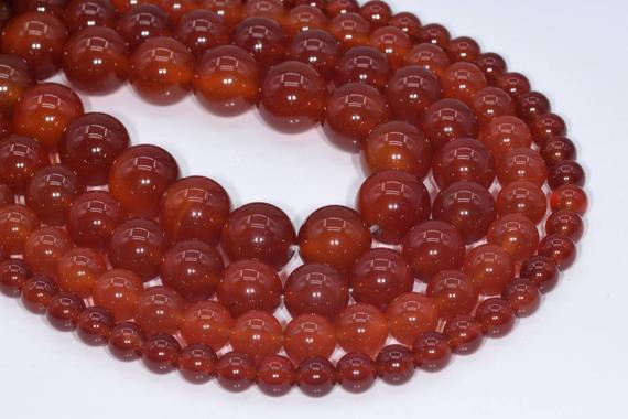 Genuine Natural Carnelian Loose Beads Round Shape 6mm 8mm 10mm 15mm
