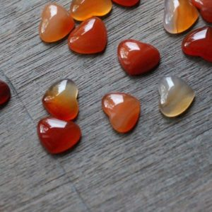 Carnelian Small Heart Stone with Flat Back K266 | Natural genuine stones & crystals in various shapes & sizes. Buy raw cut, tumbled, or polished gemstones for making jewelry or crystal healing energy vibration raising reiki stones. #crystals #gemstones #crystalhealing #crystalsandgemstones #energyhealing #affiliate #ad