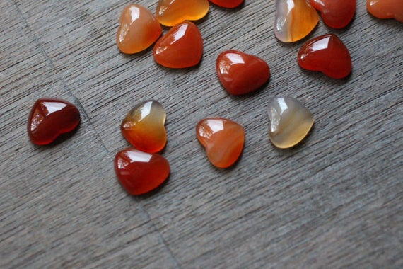 Carnelian Small Heart Stone With Flat Back K266
