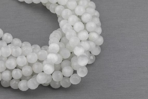 Cats Eye - Selenite Quartz- High Quality In Faceted Round, 4mm, 6mm, 8mm, 10mm, 12mm- Full Strand 15.5 Inches Long- White
