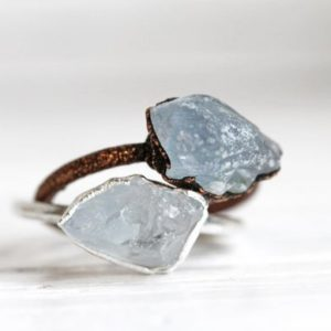 Celestite Ring – Pale Blue Crystal Ring – Raw Stone Stacking Ring – Mineral Jewelry – Natural Stone | Natural genuine Gemstone rings, simple unique handcrafted gemstone rings. #rings #jewelry #shopping #gift #handmade #fashion #style #affiliate #ad