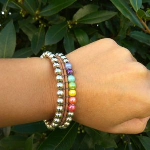 Shop Chakra Beads! Chakra bead bracelet, Balance bracelet, Silver bead chic bracelet, Chakra wrap bracelet, Colors yoga wrap bracelet, Moms day gift, Wife gift | Shop jewelry making and beading supplies, tools & findings for DIY jewelry making and crafts. #jewelrymaking #diyjewelry #jewelrycrafts #jewelrysupplies #beading #affiliate #ad