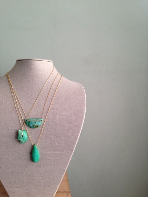Chrysocolla Necklace Geometric Necklace Chrysocolla Jewelry Gemstone Necklace Gold Filled Necklace