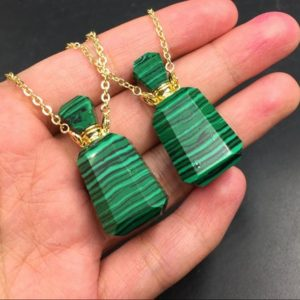 Malachite Perfume Bottle Necklace Pendant Essential Oil Diffuser Bottle Chrysocolla Perfume Bottle Pendant Gemstone Crystal Scent Bottle | Natural genuine Chrysocolla pendants. Buy crystal jewelry, handmade handcrafted artisan jewelry for women.  Unique handmade gift ideas. #jewelry #beadedpendants #beadedjewelry #gift #shopping #handmadejewelry #fashion #style #product #pendants #affiliate #ad