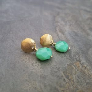 Shop Chrysoprase Earrings! Chrysoprase nugget earrings, vivid green gemstone drop, button studs with dangle, genuine semi precious stone, faceted oval shaped gem | Natural genuine Chrysoprase earrings. Buy crystal jewelry, handmade handcrafted artisan jewelry for women.  Unique handmade gift ideas. #jewelry #beadedearrings #beadedjewelry #gift #shopping #handmadejewelry #fashion #style #product #earrings #affiliate #ad