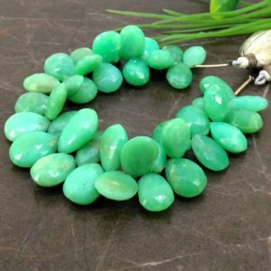 Shop Chrysoprase Bead Shapes! Natural Chrysoprase 15-19mm Faceted Pear Briolette Beads / Approx 41 pieces on 8 Inch long strand / JBC-ET-153732 | Natural genuine other-shape Chrysoprase beads for beading and jewelry making.  #jewelry #beads #beadedjewelry #diyjewelry #jewelrymaking #beadstore #beading #affiliate #ad