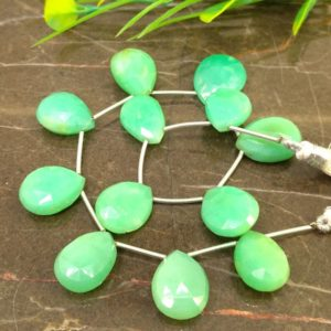 Shop Chrysoprase Bead Shapes! Natural Chrysoprase 16-19mm Faceted Pear Briolette Beads / Approx 12 pieces on 8 Inch long strand / JBC-ET-148581 | Natural genuine other-shape Chrysoprase beads for beading and jewelry making.  #jewelry #beads #beadedjewelry #diyjewelry #jewelrymaking #beadstore #beading #affiliate #ad