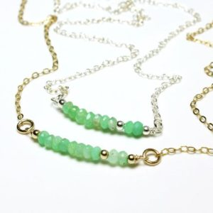 Shop Chrysoprase Pendants! Chrysoprase Gold Filled Sterling Silver Bar Necklace wire wrapped natural green gemstone beaded pendant May birthstone gift for her 5399 | Natural genuine Chrysoprase pendants. Buy crystal jewelry, handmade handcrafted artisan jewelry for women.  Unique handmade gift ideas. #jewelry #beadedpendants #beadedjewelry #gift #shopping #handmadejewelry #fashion #style #product #pendants #affiliate #ad
