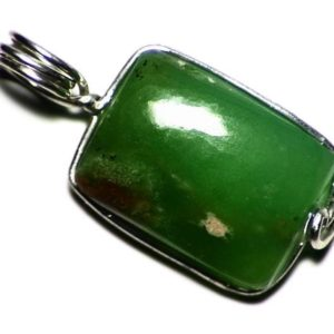 Shop Chrysoprase Pendants! Green Chrysoprase Pendant in Sterling Silver, Rectangle Cabochon Necklace, Real Chrysoprase For Men, Australian Gemstone Wire Wrap | Natural genuine Chrysoprase pendants. Buy handcrafted artisan men's jewelry, gifts for men.  Unique handmade mens fashion accessories. #jewelry #beadedpendants #beadedjewelry #shopping #gift #handmadejewelry #pendants #affiliate #ad