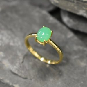 Gold Chrysoprade Ring, Chrysoprase Ring, Natural Chrysoprase, May Ring, Solitaire Ring, Gold Dainty Ring, 18K Gold Ring, Solid Silver Ring | Natural genuine Chrysoprase rings, simple unique handcrafted gemstone rings. #rings #jewelry #shopping #gift #handmade #fashion #style #affiliate #ad