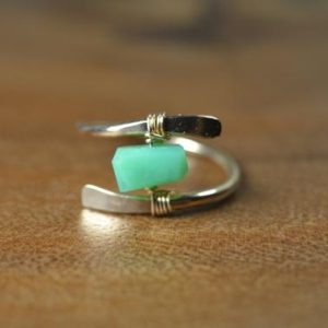 Shop Chrysoprase Jewelry! Raw Chrysoprase Ring in Sterling Silver, 14k Gold // Wire Wrapped Gemstone Ring // Healing Crystal // Boho Green Chrysoprase // Crystal Ring | Natural genuine Chrysoprase jewelry. Buy crystal jewelry, handmade handcrafted artisan jewelry for women.  Unique handmade gift ideas. #jewelry #beadedjewelry #beadedjewelry #gift #shopping #handmadejewelry #fashion #style #product #jewelry #affiliate #ad