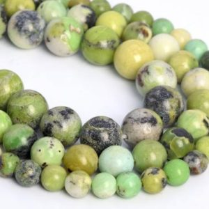 Genuine Natural Chrysoprase / Australian Jade Loose Beads Round Shape 6mm 8mm 10mm | Natural genuine round Chrysoprase beads for beading and jewelry making.  #jewelry #beads #beadedjewelry #diyjewelry #jewelrymaking #beadstore #beading #affiliate #ad