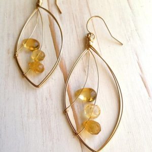 Shop Citrine Earrings! Citrine Trio Faceted Droplet Earring Citrine Earring Citrine Jewelry | Natural genuine Citrine earrings. Buy crystal jewelry, handmade handcrafted artisan jewelry for women.  Unique handmade gift ideas. #jewelry #beadedearrings #beadedjewelry #gift #shopping #handmadejewelry #fashion #style #product #earrings #affiliate #ad