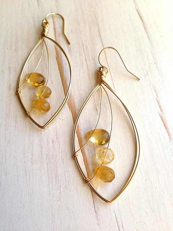 Citrine Trio Faceted Droplet Earring Citrine Earring Citrine Jewelry